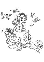 Раскраска - София Прекрасная - София бежит с корзинкой цветов