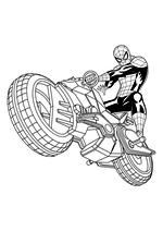 Раскраска - Совершенный Человек-паук - Человек-паук на мотоцикле