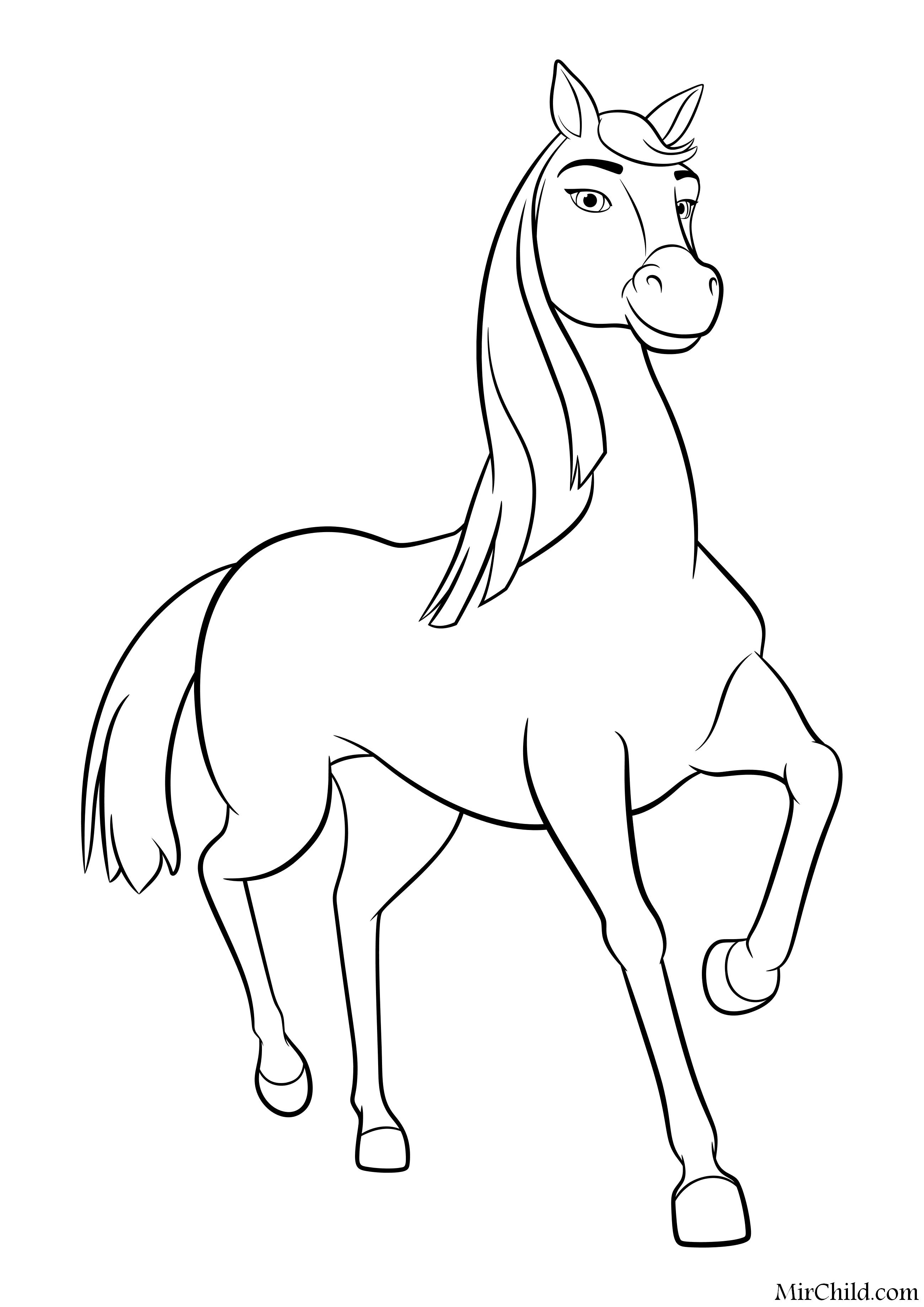 раскраска спирит скачки на свободе лошадь паломино чика