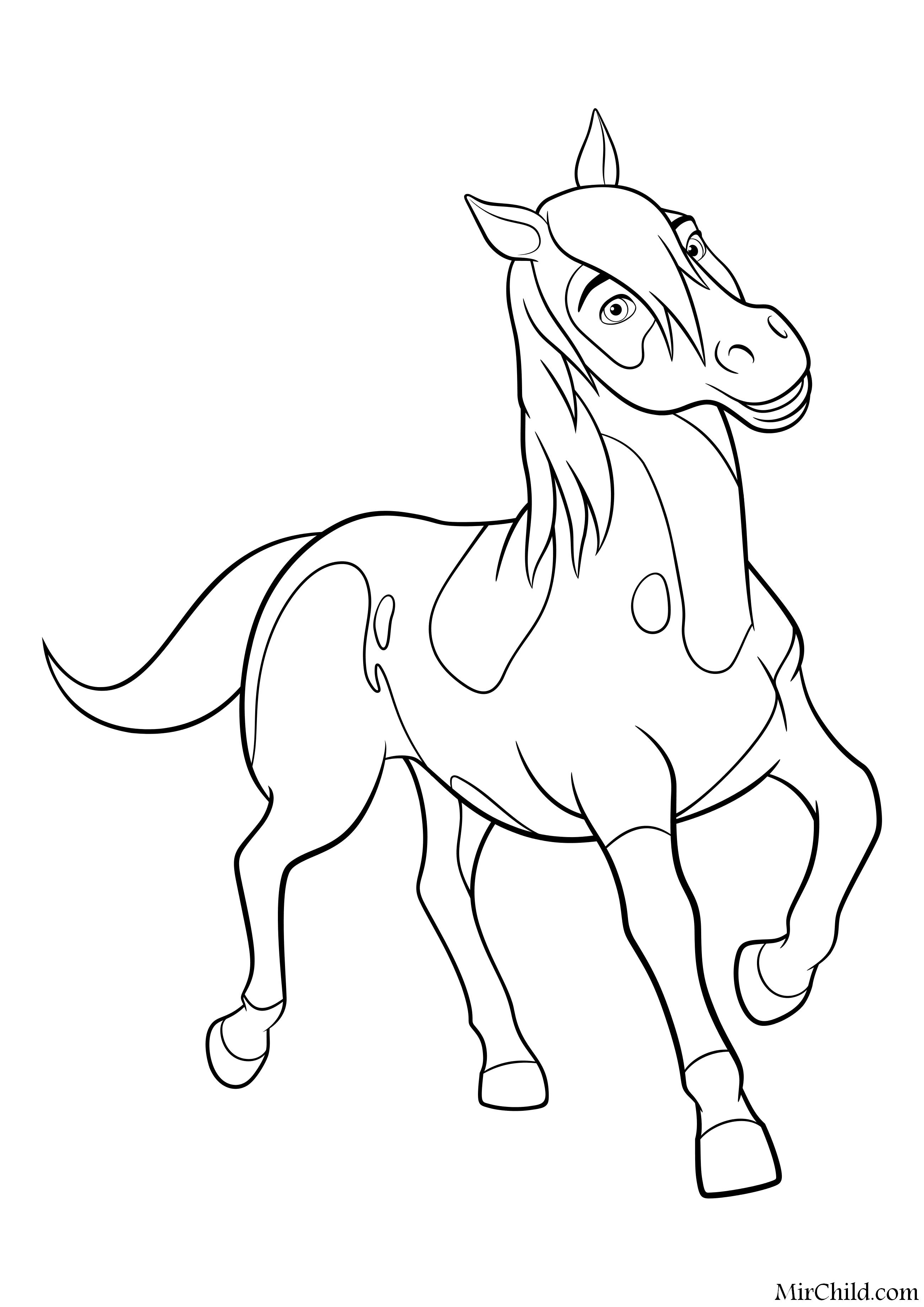 раскраска спирит скачки на свободе лошадь пейнтхорс