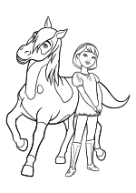 Раскраска - Спирит: Скачки на свободе - Бумеранг и Эбигейл