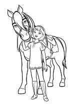 Раскраска - Спирит: Скачки на свободе - Эбигейл обнимает Бумеранга