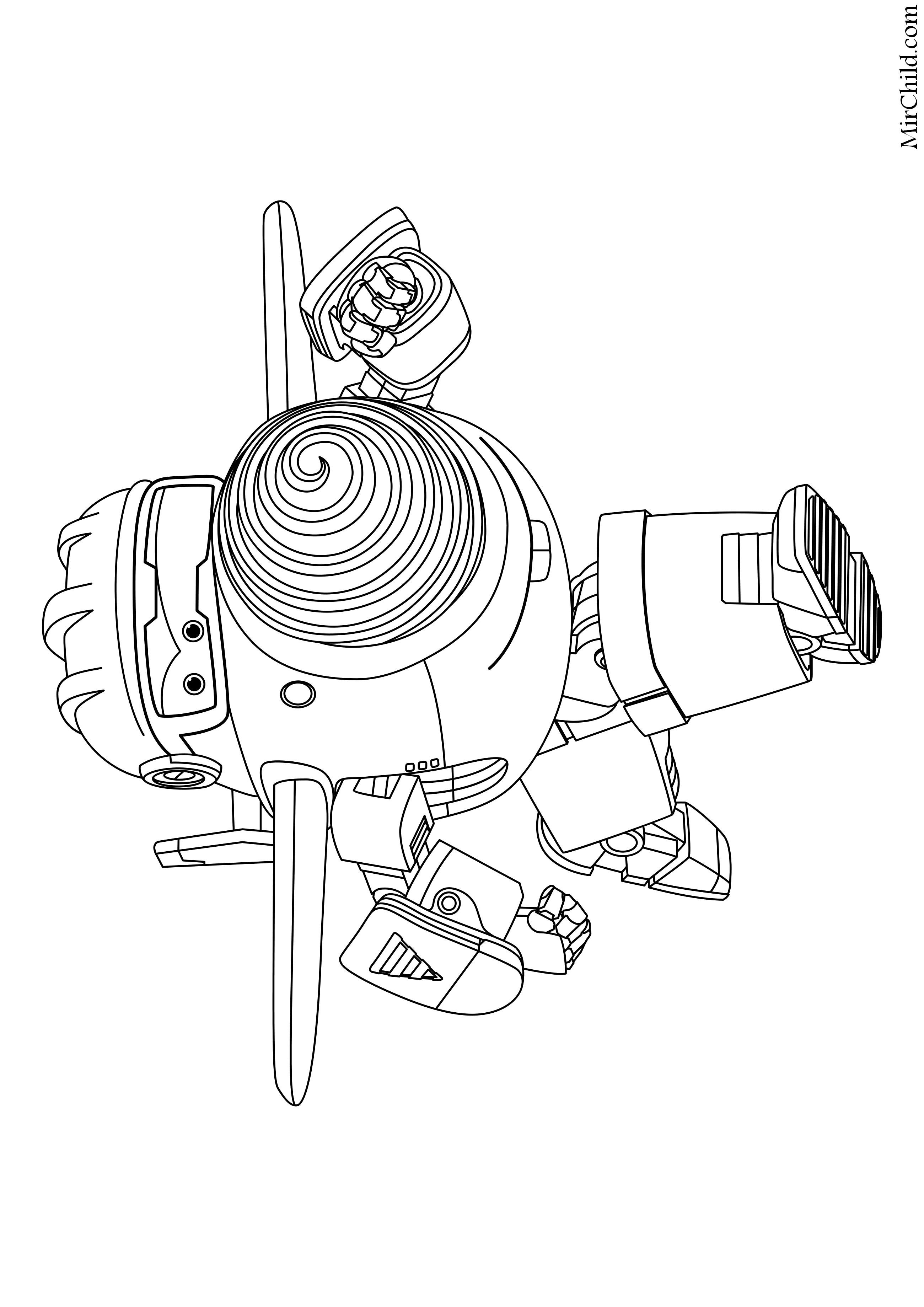 Раскраска - Супер Крылья: Джетт и его друзья - Робот Тодд ...