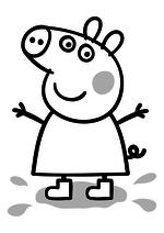 Раскраска - Свинка Пеппа - Свинка Пеппа наступила в лужу