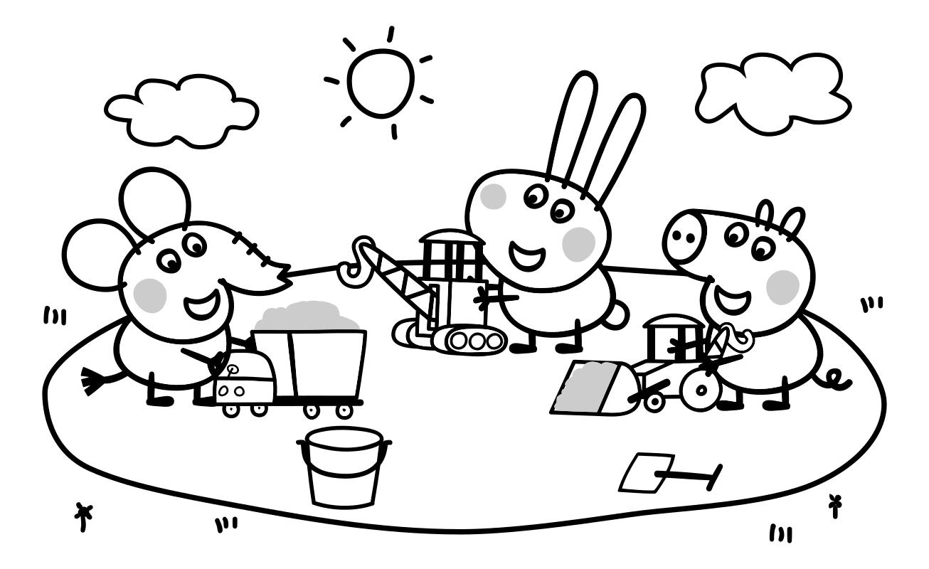 Раскраска - Свинка Пеппа - Слонёнок Эмили, Кролик Ричард и ...