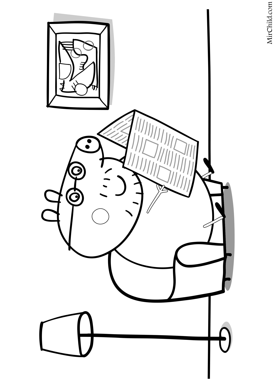 Раскраска - Свинка Пеппа - Папа Свин читает газету | MirChild