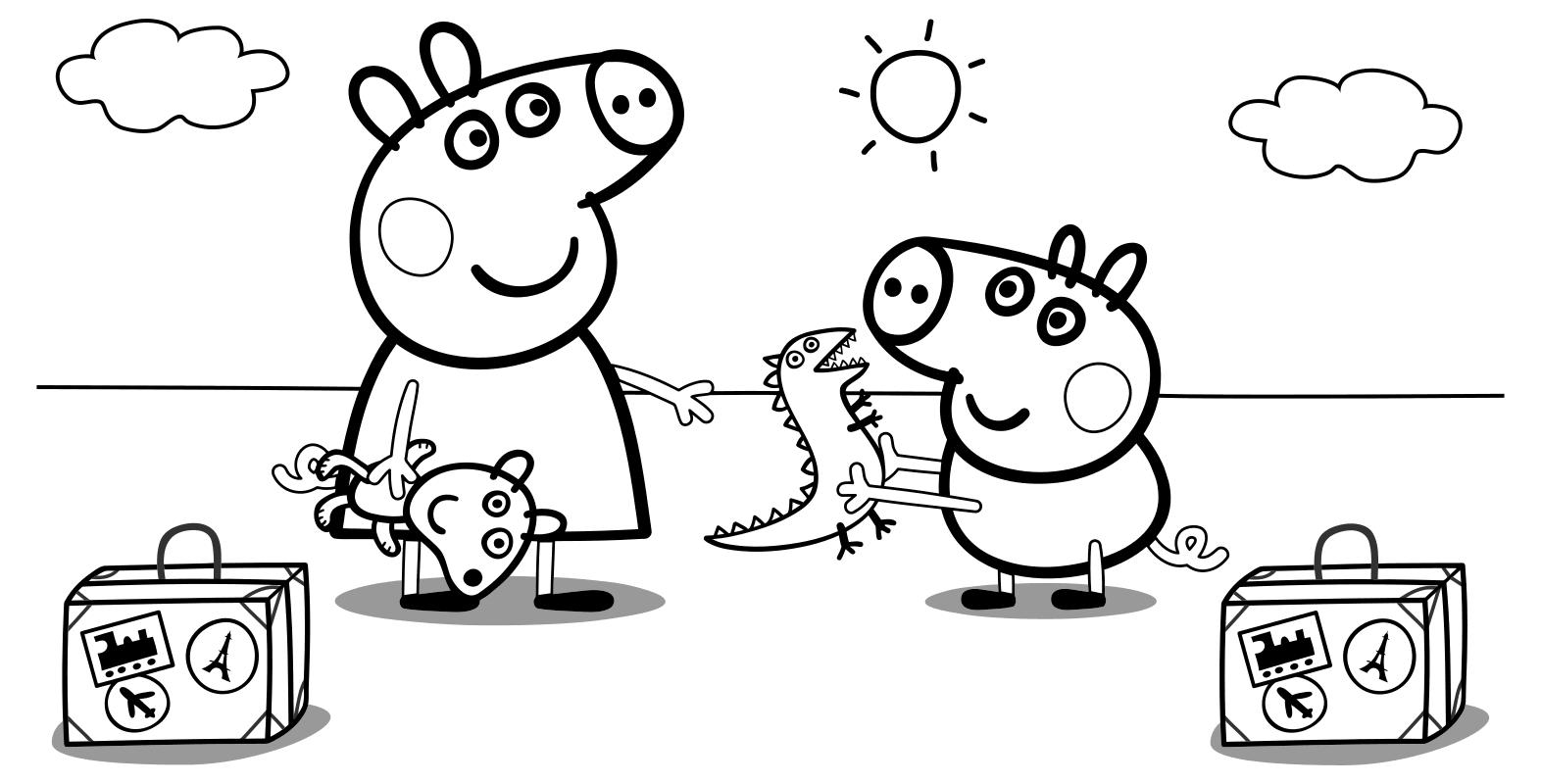 Раскраска - Свинка Пеппа - Свинка Пеппа и Джордж c ...
