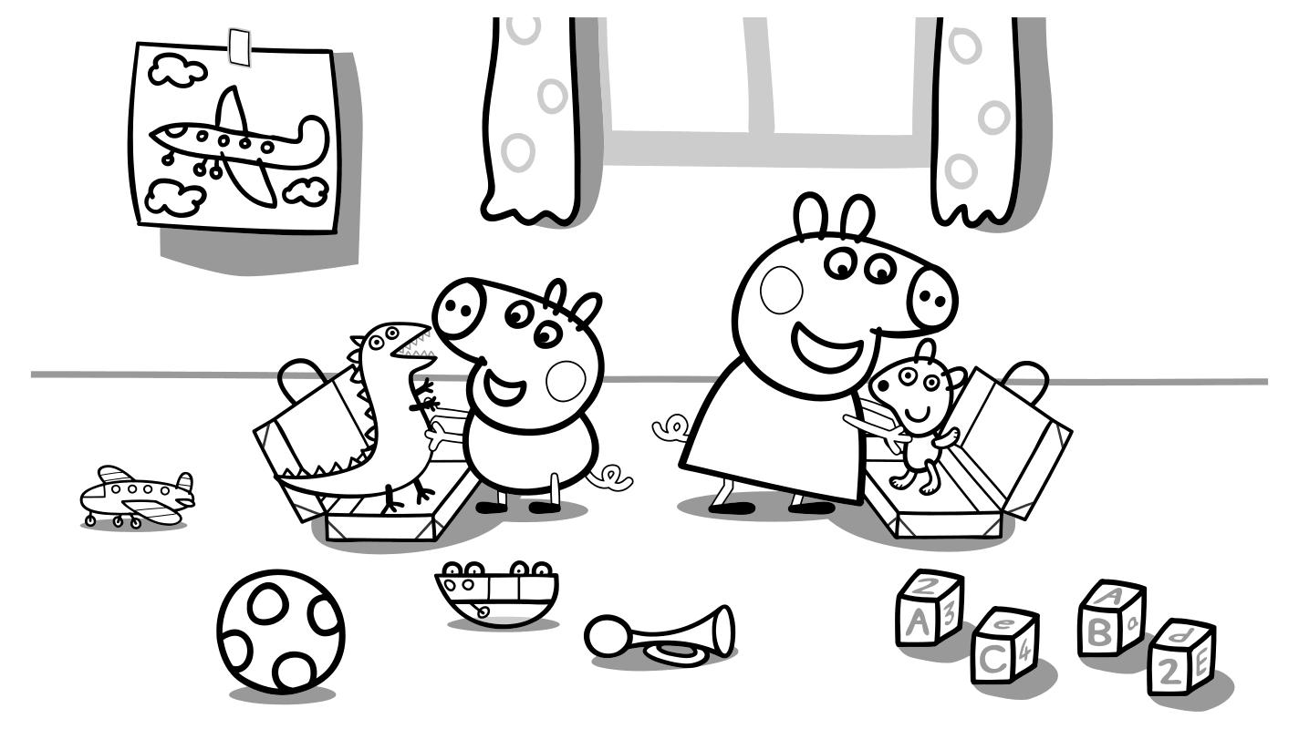 Раскраска - Свинка Пеппа - Поросёнок Джордж и Пеппа ...