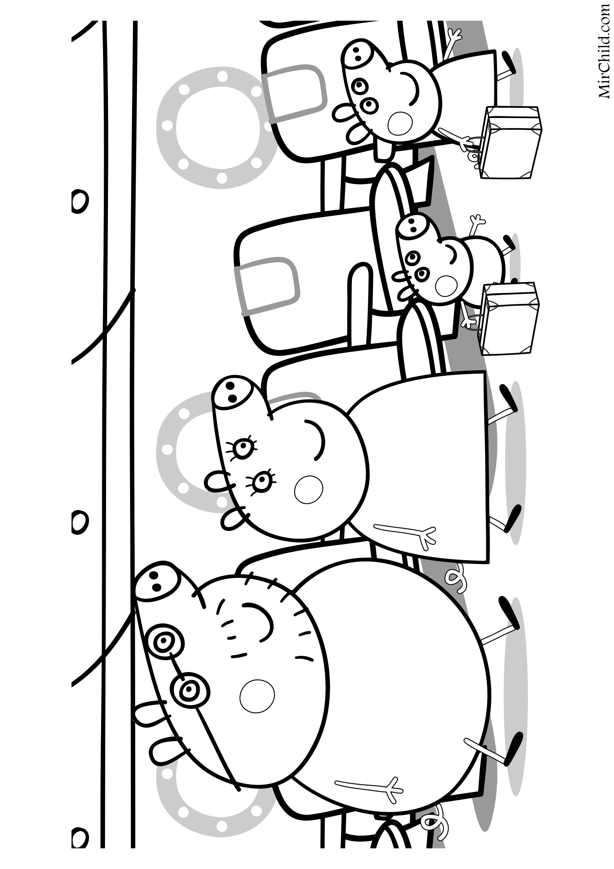 Раскраска - Свинка Пеппа - Папа Свин, Мама Свинка, Джордж ...