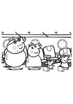 Раскраска - Свинка Пеппа - Папа Свин, Мама Свинка, Джордж и Пеппа в самолёте