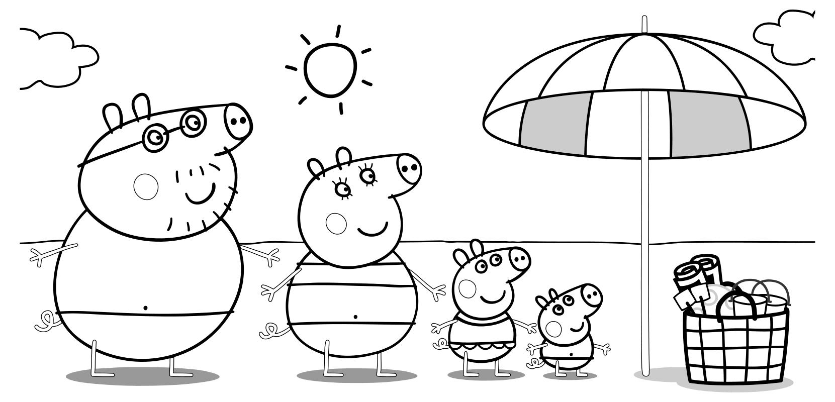 Раскраска - Свинка Пеппа - Папа Свин, Мама Свинка, Пеппа и ...