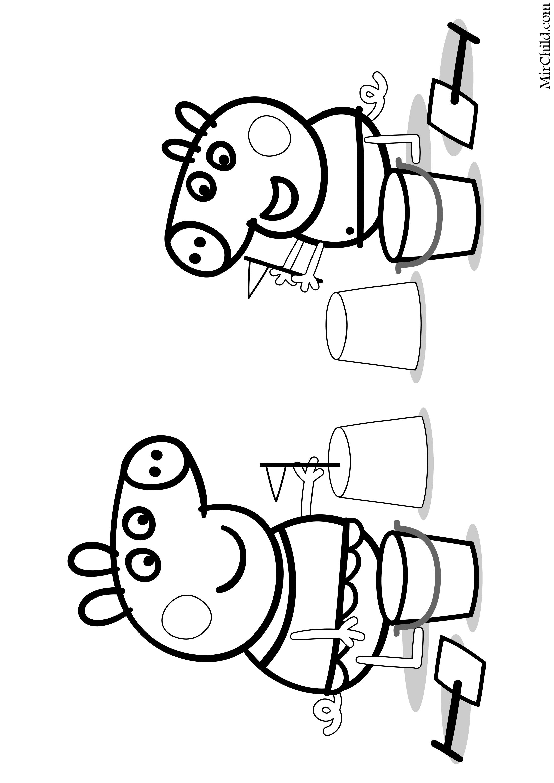Раскраска - Свинка Пеппа - Пеппа и Джордж делают куличики ...