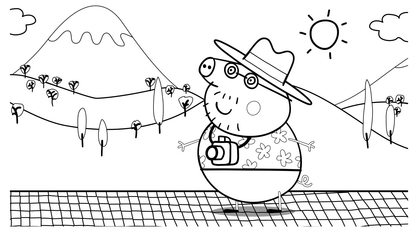 Раскраска - Свинка Пеппа - Папа Свин - турист