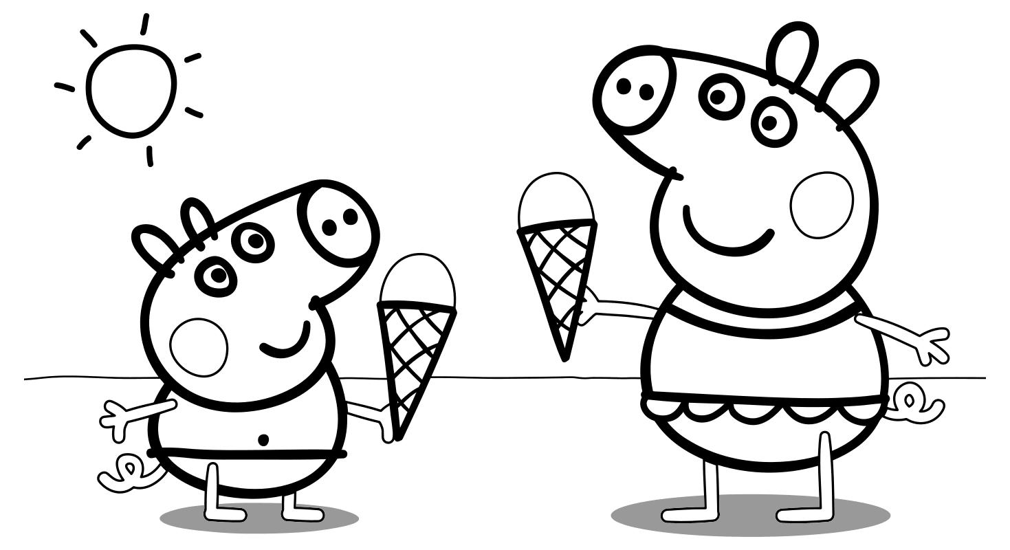 Раскраска - Свинка Пеппа - Джордж и Пеппа едят мороженое ...