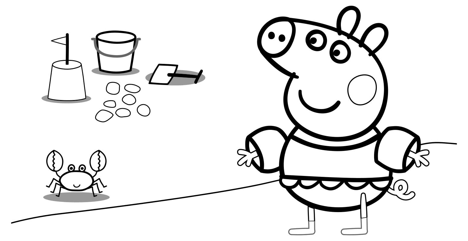 Раскраска - Свинка Пеппа - Свинка Пеппа зашла в воду ...