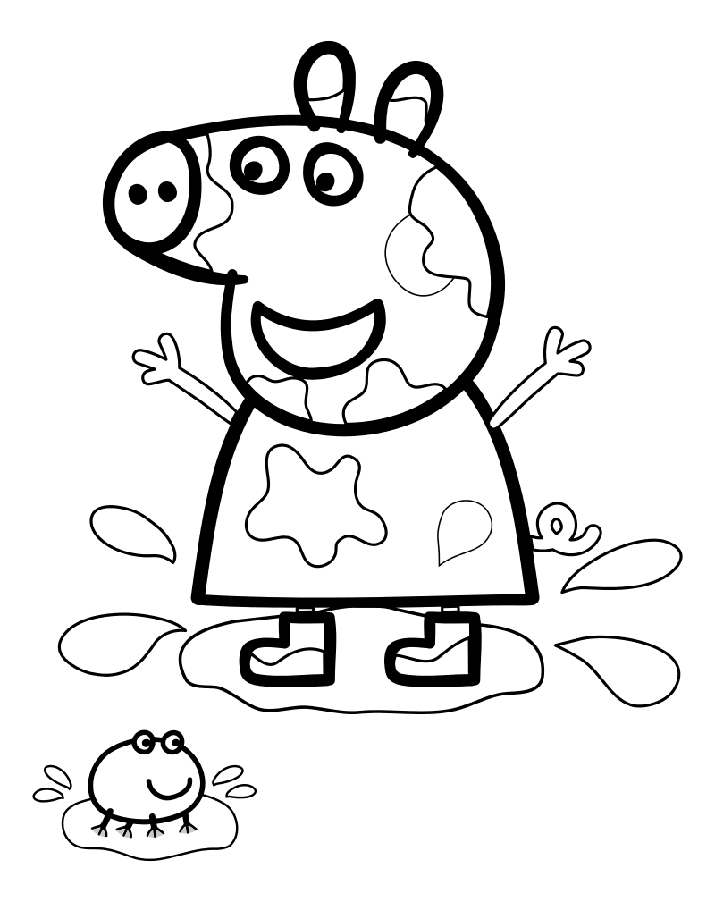 Раскраска - Свинка Пеппа - Свинка Пеппа прыгнула в лужу