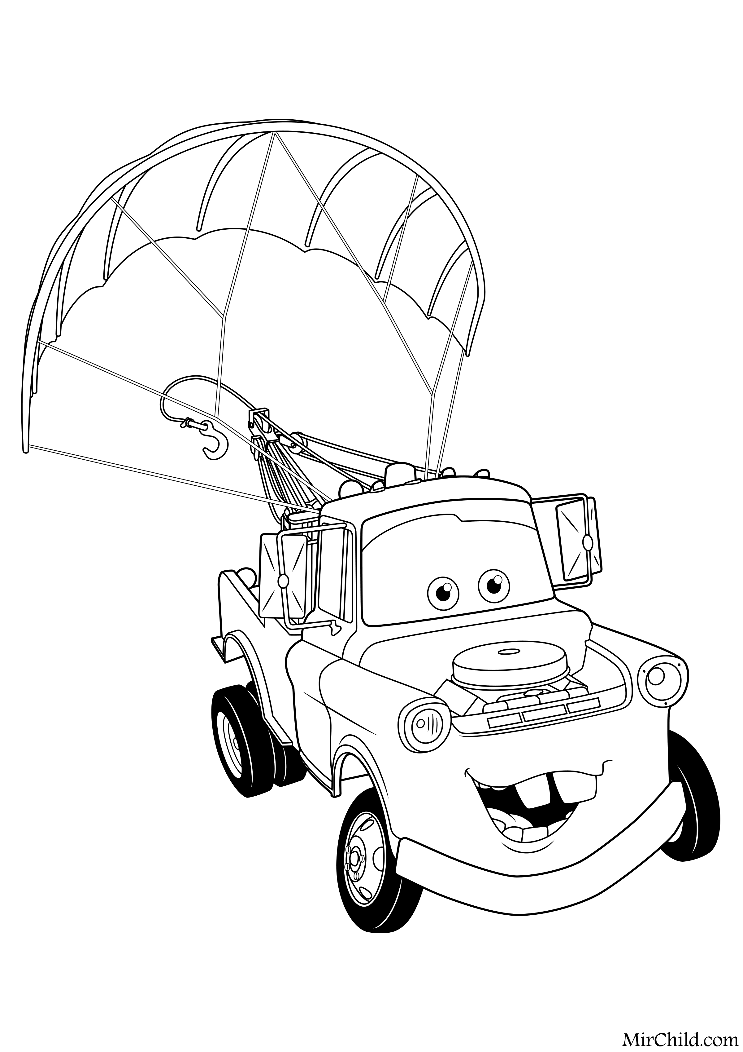Раскраска - Тачки 2 - Мэтр с парашютом | MirChild