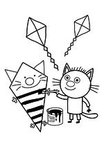 Раскраска - Три кота - Сажик и воздушный змей