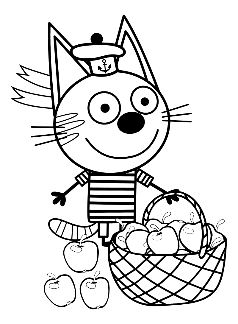 Раскраска - Три кота - Коржик с корзинкой яблок   MirChild