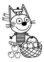 Раскраска - Три кота - Коржик с корзинкой яблок