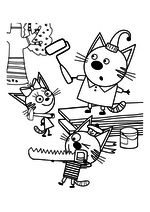 Раскраска - Три кота - Карамелька, Коржик и Компот строят домик