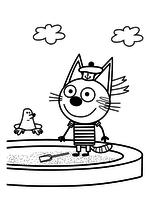 Раскраска - Три кота - Коржик и крот