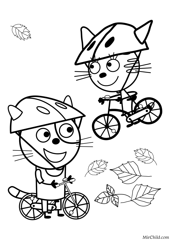 Раскраска - Три кота - Гоня и Карамелька на велосипедах ...