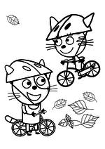 Раскраска - Три кота - Гоня и Карамелька на велосипедах