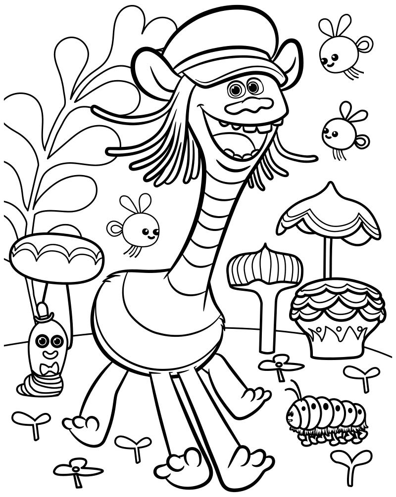 Раскраска - Тролли - Купер в сказочном лесу | MirChild