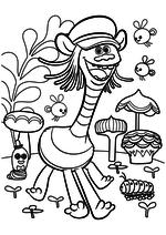 Раскраска - Тролли - Купер в сказочном лесу