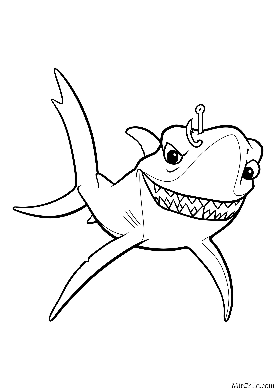 Раскраска - В поисках Немо - Акула Чавк | MirChild