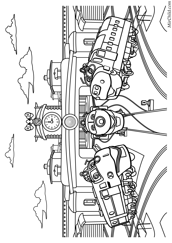 Раскраска - Весёлые паровозики из Чаггингтона - Уилсон ...