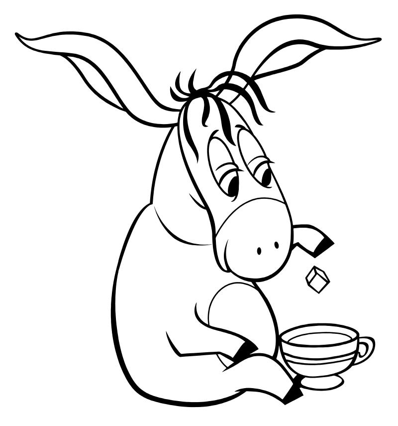 раскраска винни пух ослик иа пьёт чай Mirchild