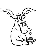 Раскраска Ослик Иа пьёт чай