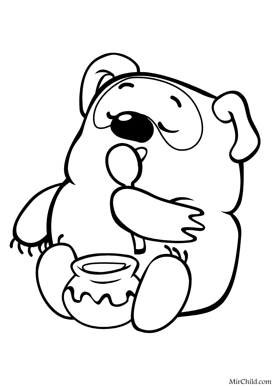 Раскраска - Винни Пух - Винни Пух ест мёд | MirChild