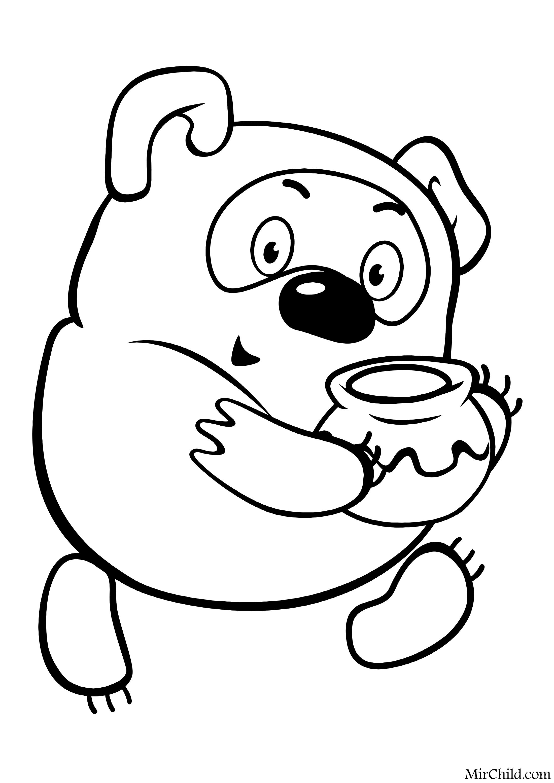 Раскраска - Винни Пух - Винни Пух с горшочком мёда | MirChild