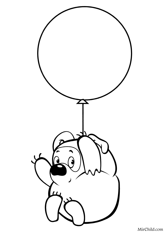 Раскраска - Винни Пух - Винни Пух на воздушном шарике ...