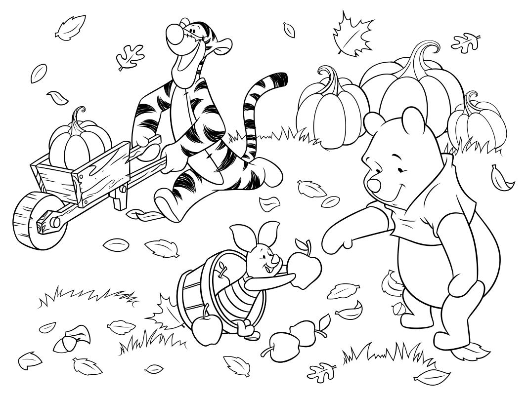Раскраска - Винни-Пух (Дисней) - Тигра, Пятачок и Винни ...