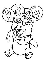 Раскраска - Винни-Пух (Дисней) - Винни-Пух с воздушными шариками