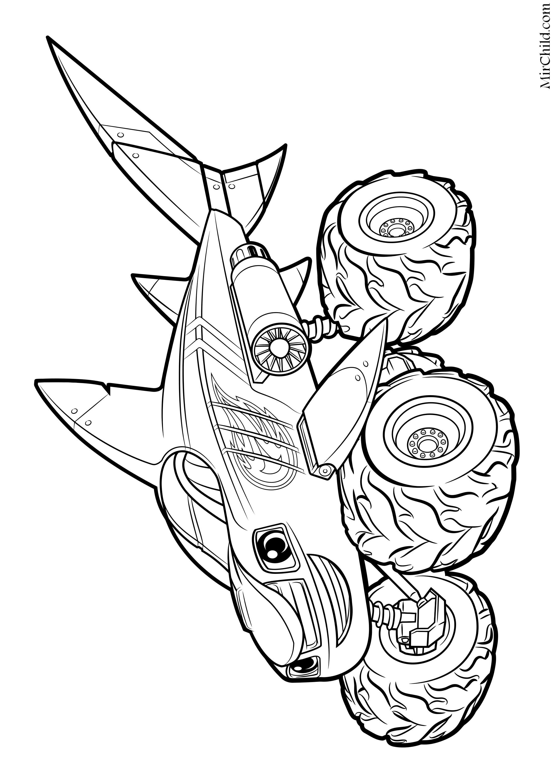 Раскраска - Вспыш и чудо-машинки - Вспыш - Акула | MirChild