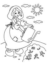 Раскраска Золушка поливает цветы