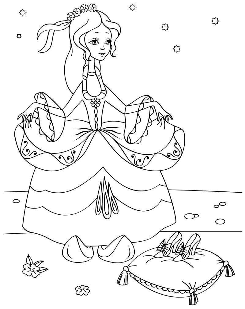 раскраска золушка золушка в бальном платье Mirchild