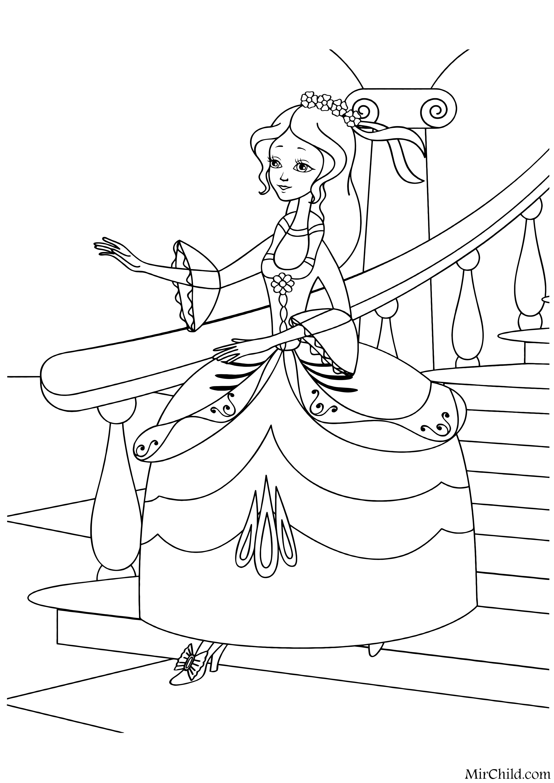 Раскраска - Золушка - Золушка убегает с бала | MirChild