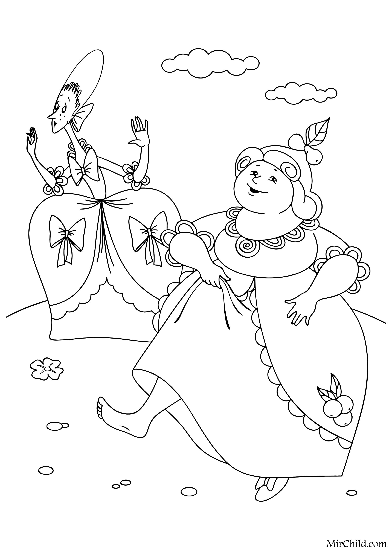 Раскраска - Золушка - Сёстры Золушки | MirChild