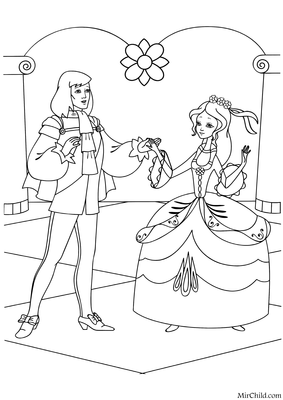 Раскраска - Золушка - Золушка с принцем | MirChild