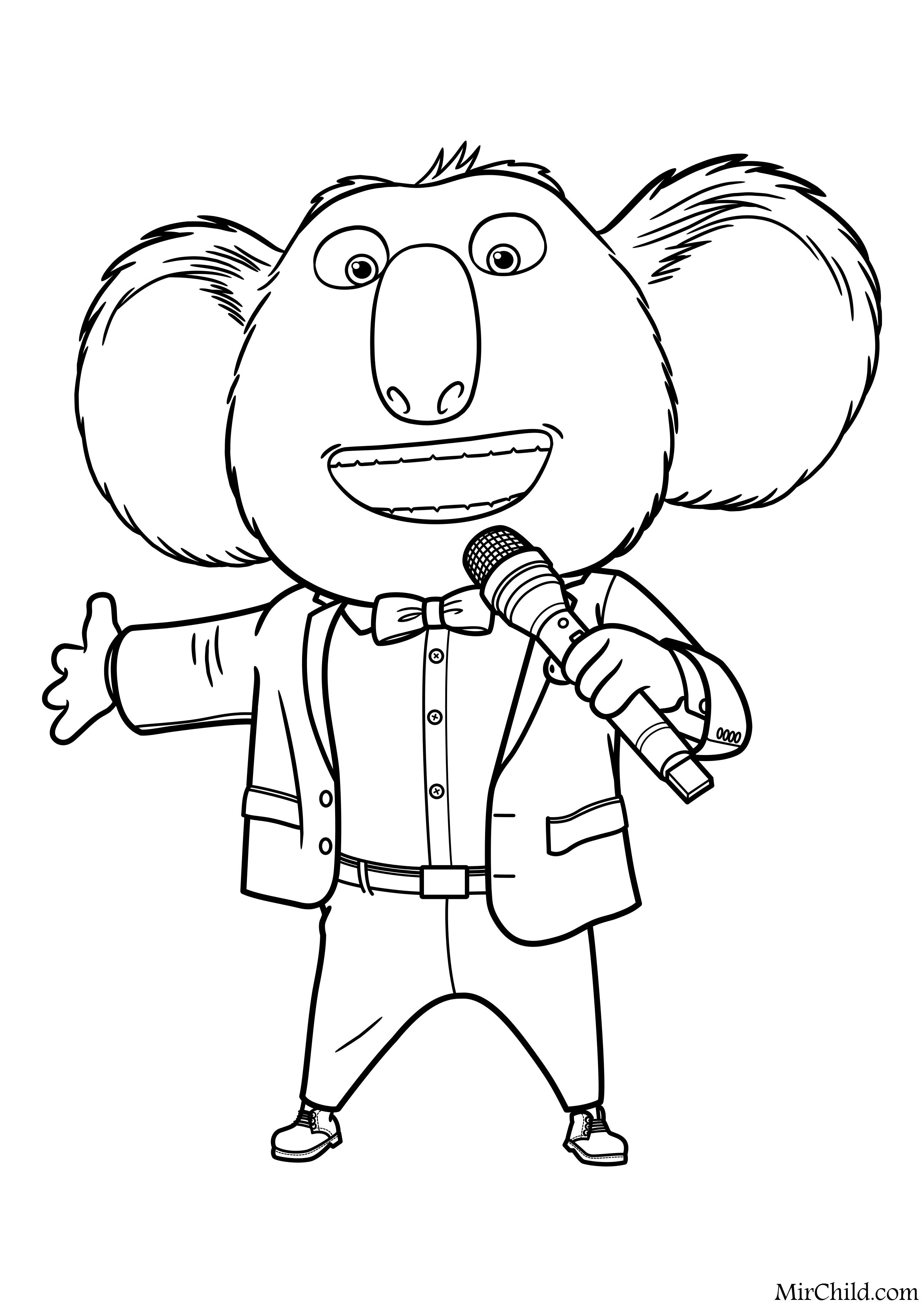 раскраска зверопой коала бастер мун Mirchild