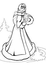 Раскраска - Новый год - Снегурочка с птицами