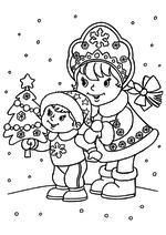 Снегурочка с мальчиком и ёлочкой