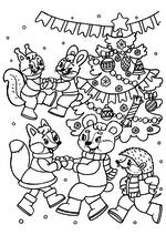 Раскраска - Новый год - Зверята танцуют у ёлки