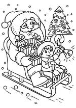 Раскраска - Новый год - Дед Мороз с мальчиком на санках